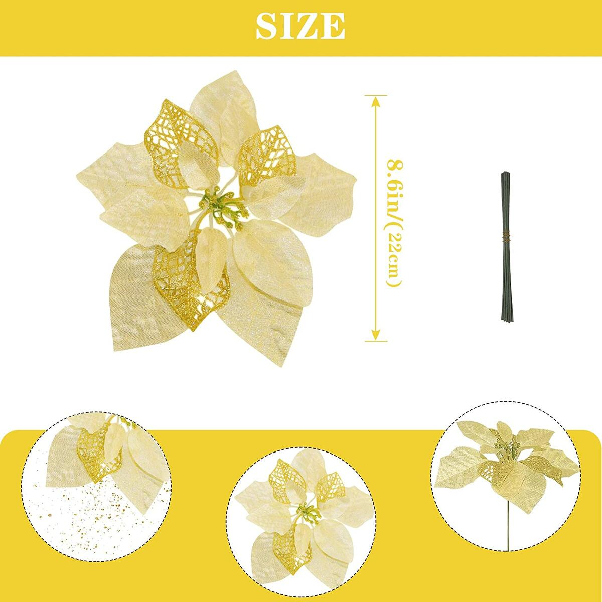 Christmas Glitter Poinsettia Artificial Flowers (Gold-Sliver-Pink-Blue)