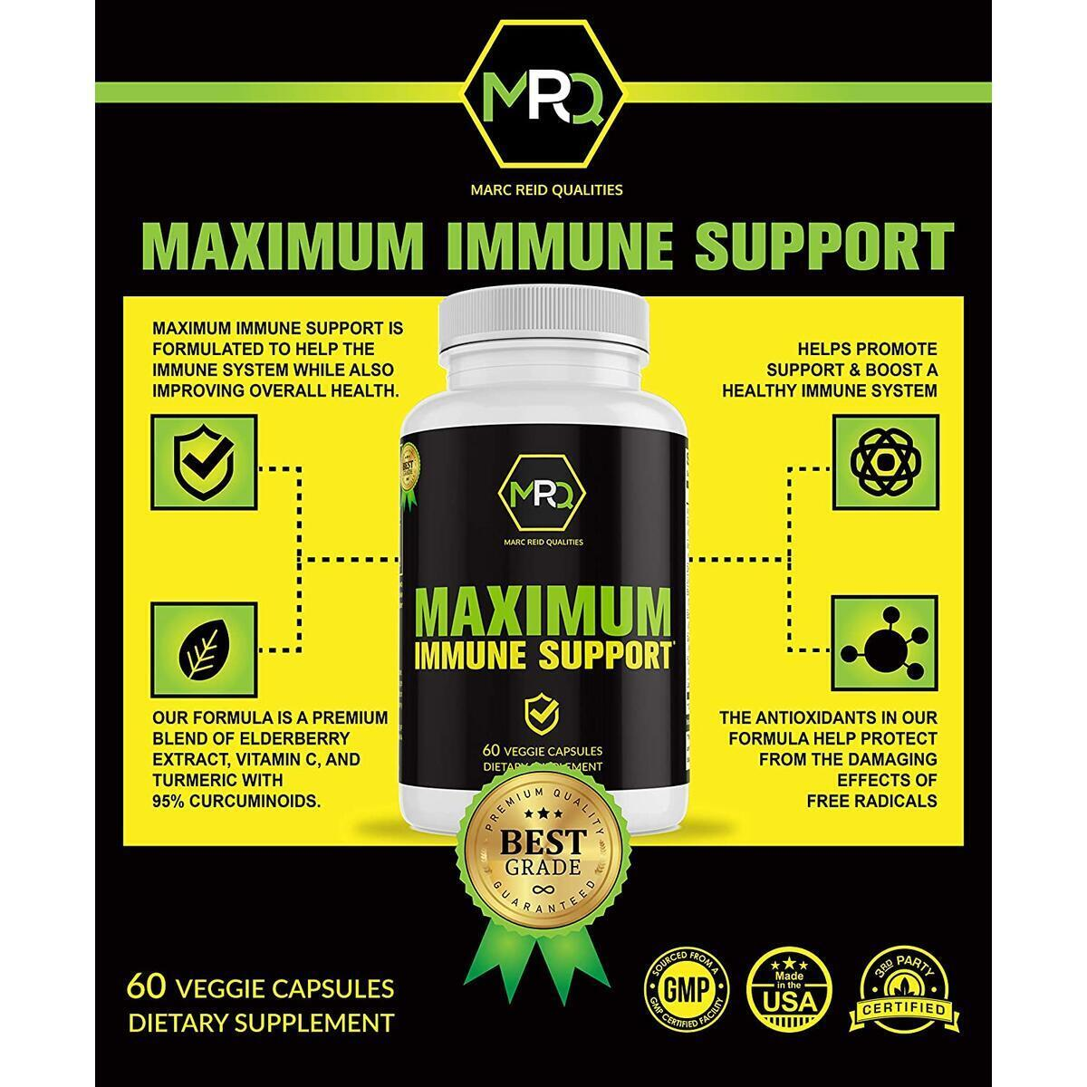 MRQ Immune Support Vitamins - Zinc Supplement, Vitamin C, E & B6 Elderberry Organic Daily Immunity Booster for Adult & Kids Echinacea L Glutamine Powder Gummies, Turmeric Capsules