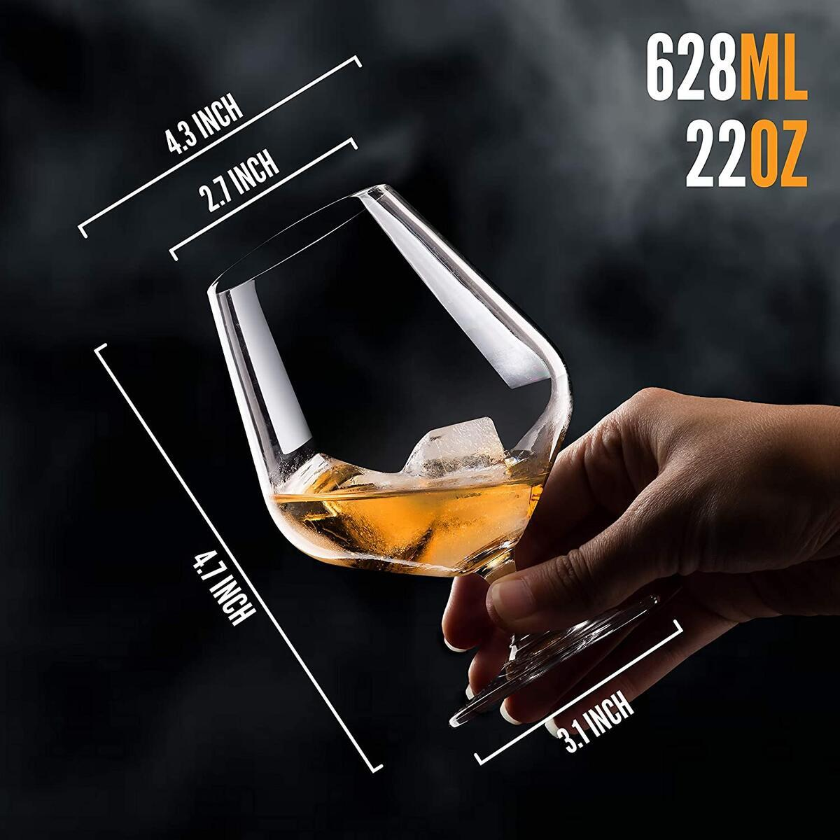 Season STORY Large Cognac Whiskey Snifter Brandy Glasses, (Set of 2, 22oz) Modern & Unique Crystal Stemmed Glassware 4 Tasting and Drinking Whisky, Liquor & Rum