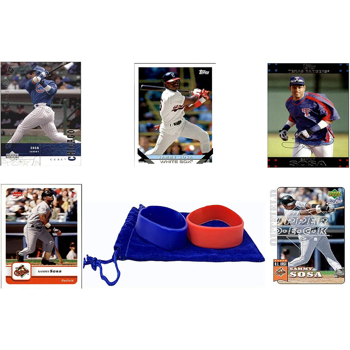 Sammy Sosa Baseball Cards (5) ASSORTED Chicago Cubs Trading Card and Wristbands Gift Bundle