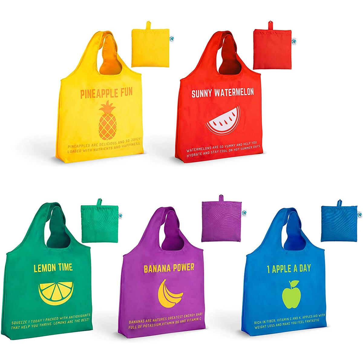 Reusable Grocery Bags for Shopping. Made from Recycled Plastic. Waterproof, Washable, Heavy Duty, Extra Large, 65LBS. Pack of 5 Foldable Into Pouch. With Cute, Fun, Colorful Design, Fruits, Eco-Friendly, Durable Tote Bag