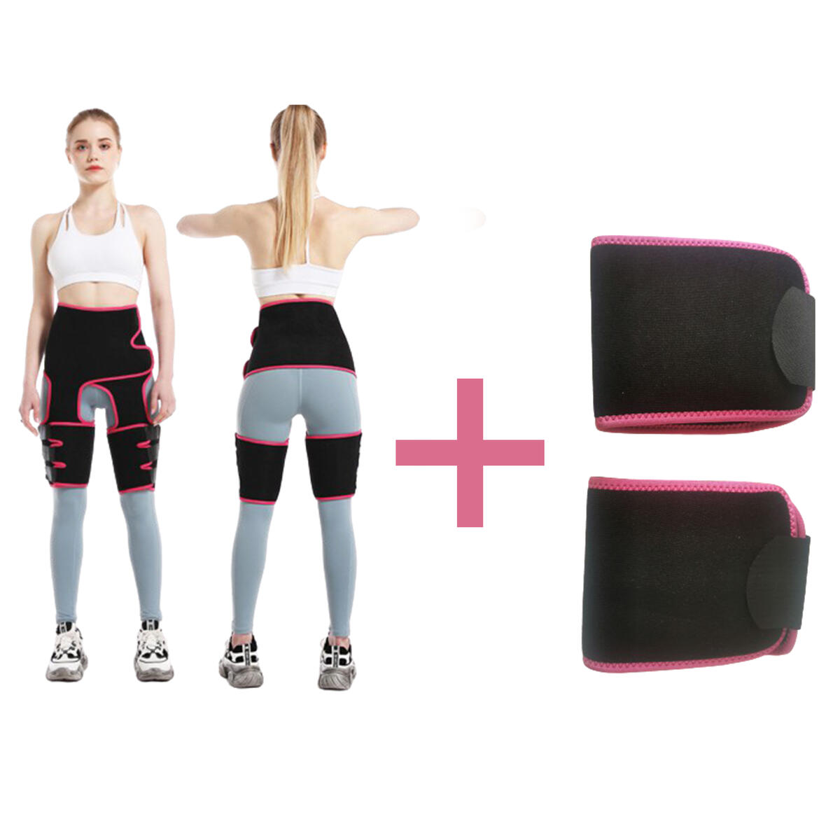 3-in-1 Thigh Trimmer-Slimming Waist Trainer and 2 Elbow Pads-Sauna Adjustable Slimming Body Shaper Belt-Butt Lifter Waist Trainer Shaping Slimming Support-Waist Band for Women Weight Loss