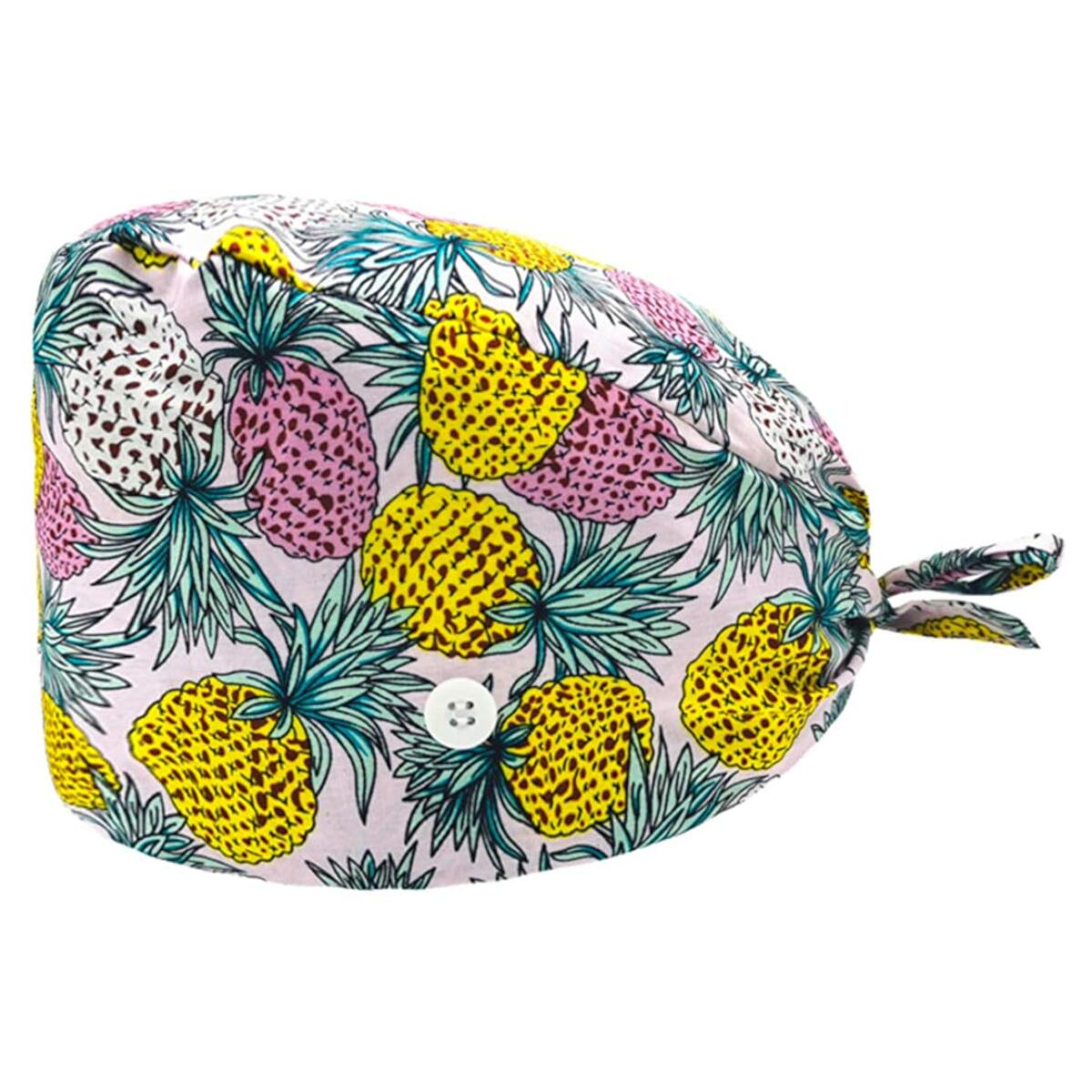 Working Cap with Buttons for Mask / ONLY FOR ONE PC (Color 13 - Pineapples)