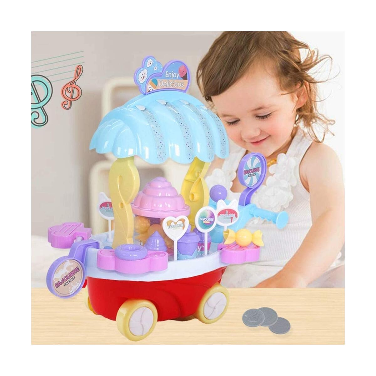 WISHTIME Ice Cream Cart Toy - Mini Pretend Food Snakes Truck Play Set with Rotating Light and Music for Kids Toddlers Girls