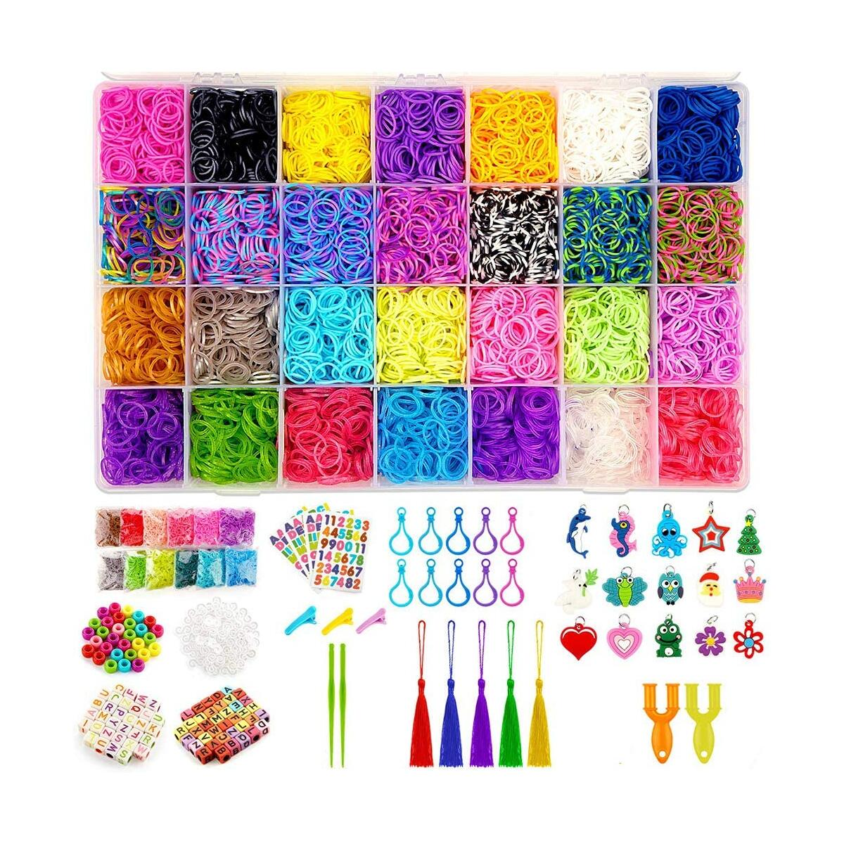 WISHTIME Rainbow Rubber Bands Girls Toys - 11700+ pcs DIY Bracelet Making Kit Includes 10000+ Loom Bands in 28 Colors, 175 Beads, 30 Charms, 5 Tassels, 5 Crochet Hooks, 3 Hair Clips, 2 Y Looms