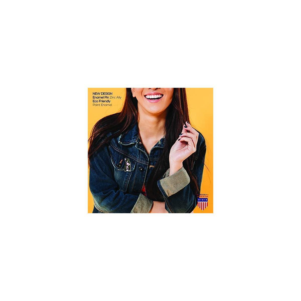 Funny Enamel Jacket Lapel Pin -Backpack Just Peachy Brooch Pin Badges for Clothes Bags Shirt - Mona Lisa