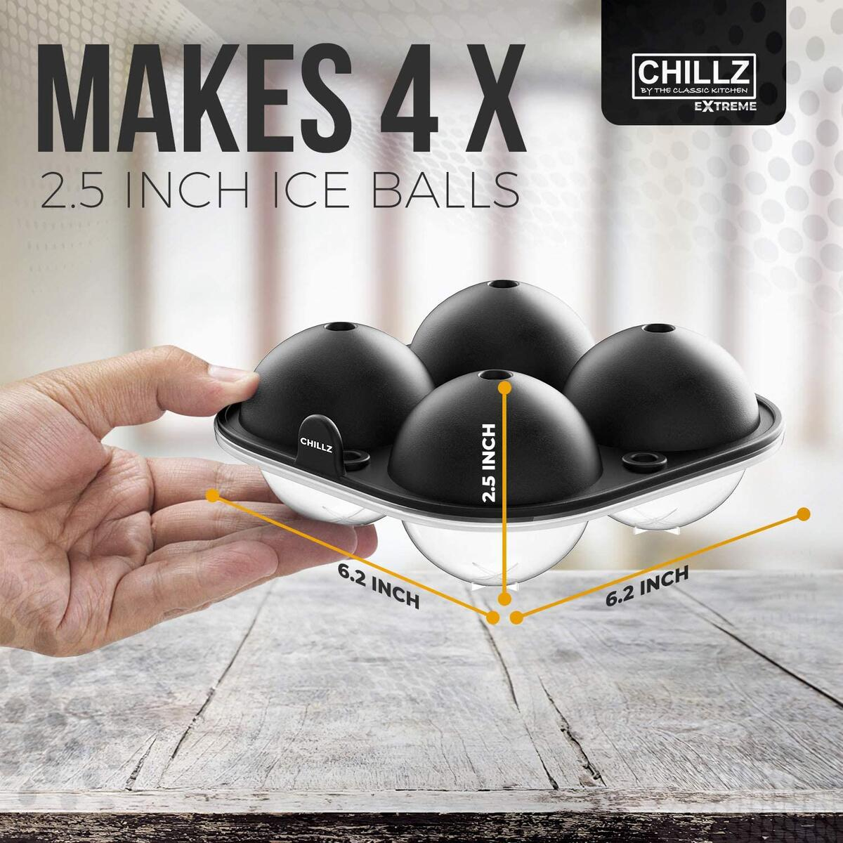 Chillz Extreme Ice Ball Maker - Ice Sphere Mold - Ice Ball Mold Tray - Makes 4 x 2.5 inch Ice Balls