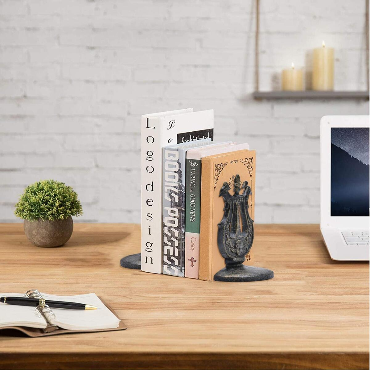 Via Moi Lyra Cast Iron Metal Book ends for Home Heavy Bookends Gifts for Book Lovers Writer Club Book Stopper Holder Knick knacks Home Decor for Shelf