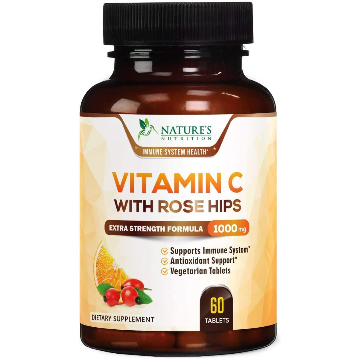 Vitamin C Supplement High Potency Immune System Support 1000mg - VIT C Chewable Pills with Rose Hips - Made in USA - Best Vegan Ascorbic Acid Antioxidant Support for Men and Women - 60 Tablets
