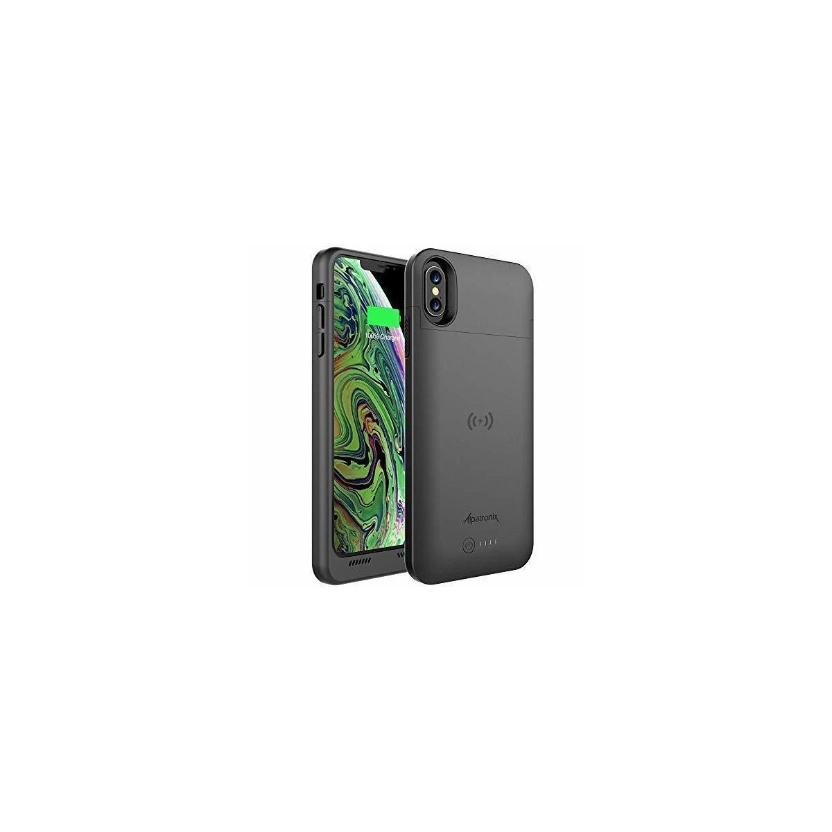 Alpatronix iPhone Xs Max Battery Case, 3500mAh Ultra Slim Portable Protective Extended Charger Cover with Qi Wireless Charging Compatible with iPhone Xs Max (6.5 inch) BXXt Max - (Black)