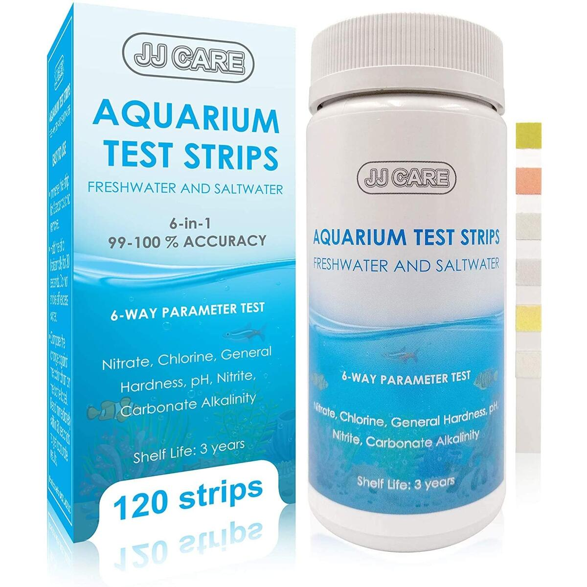 JJ CARE [120 Strips Aquarium Test Strips, 6-Way Parameter Aquarium Test Kit, Saltwater Aquarium Test Strips Freshwater, Fish Tank Test Strips, Aquarium Testing Kit