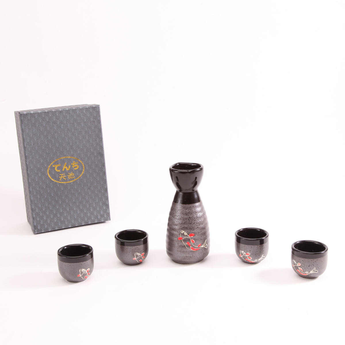 Ceramic Japanese Sake Set of 5, Hand Painted, variety colors