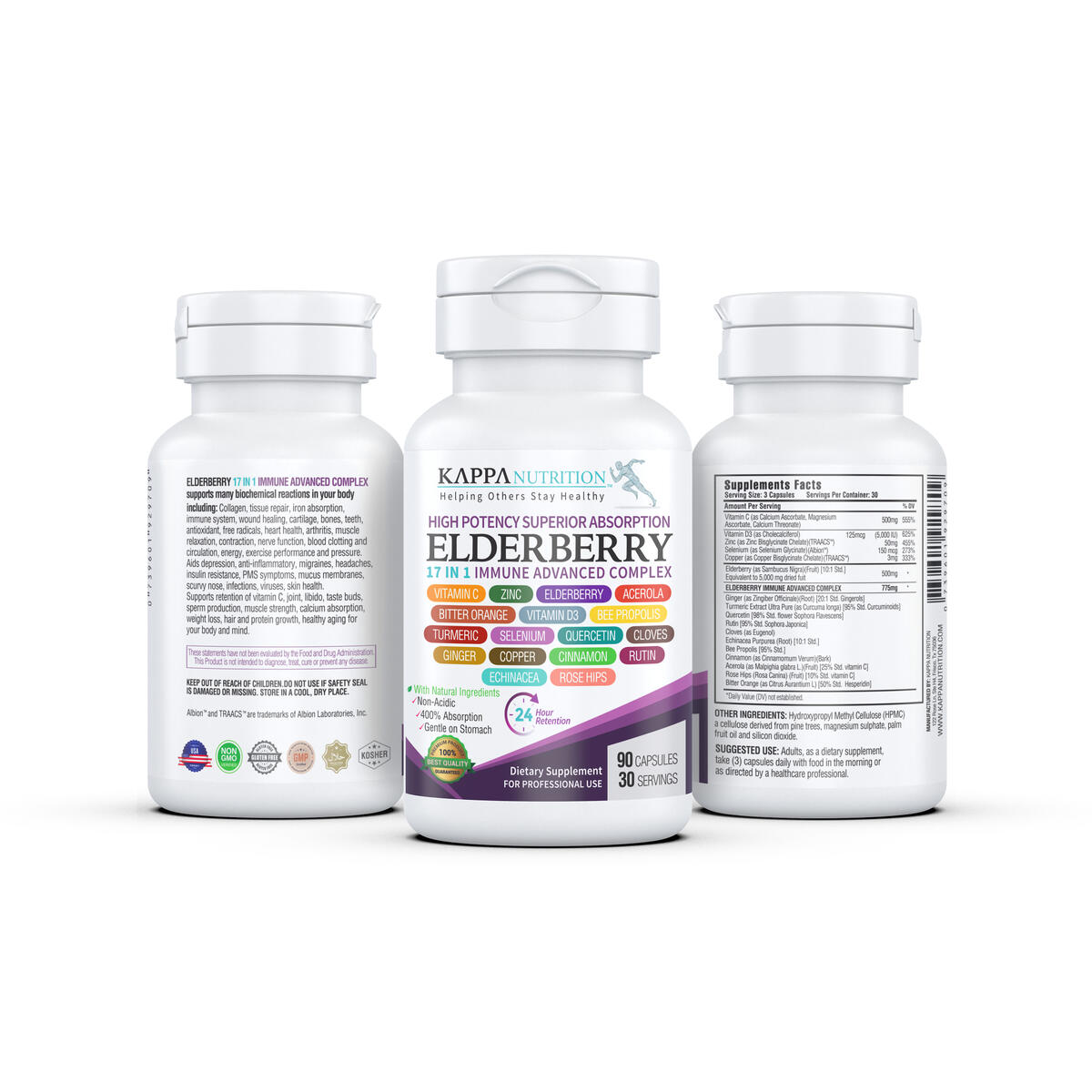 (90 Capsules), 17 in 1 High Potency Immune Support, Elderberry 5,000mg, Vitamin C 500mg, Zinc 50mg, Vitamin D3 5,000iu, Echinacea, Bee Propolis, Turmeric, Ginger, Elderberry from Kappa Nutrition.