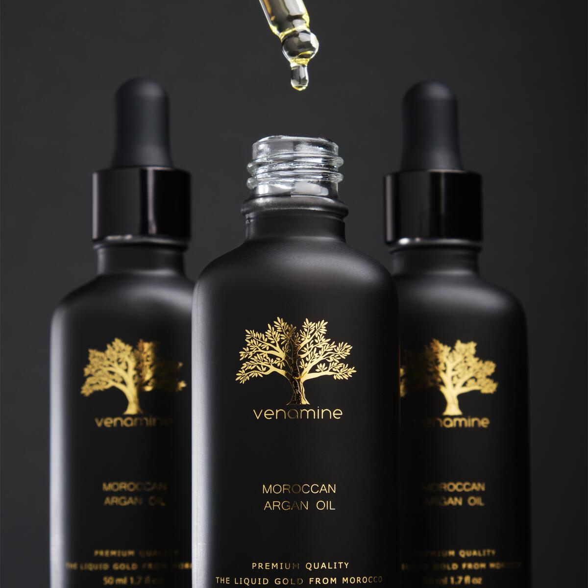 VENAMINE 100% Moroccan Argan Oil USDA Certified Organic (1.7oz / 50mL) Pure Cold Pressed Extra Virgin Premium Moisturizer
