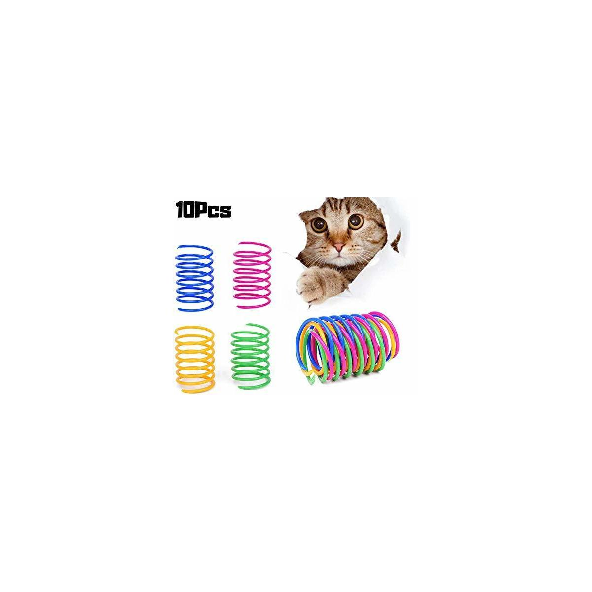 Cat Spring Toy Plastic Colorful Coil Spiral Springs Pet Action Wide Durable Interactive Toys 10pcs