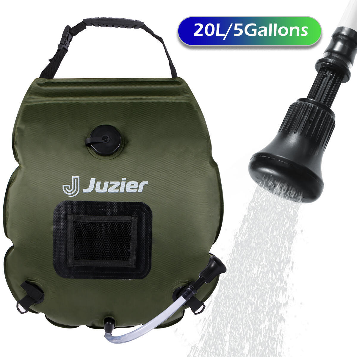 Juzier Portable Camping Shower Bag 5 Gallons/20 L Army Green Summer Solar Shower Bag for Camping with Removable Hose and On-Off Switchable Shower Head for Camping Beach Swimming Outdoor Traveling