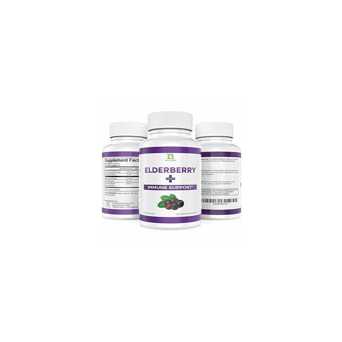 Sambucus Elderberry Capsules Supplement with Zinc, Vitamin C, Garlic & Echinacea - Immune Support Boost For Adults Women and Men Elderberry and Zinc Pills Vitamins Extract - 60 Elderberry Zinc Capsule