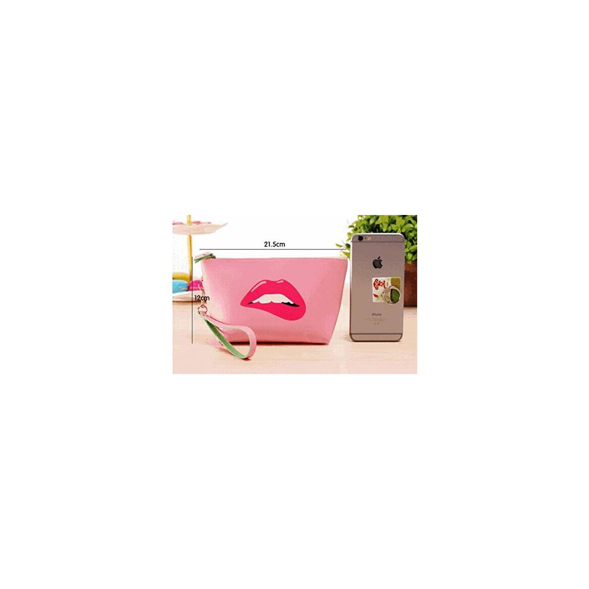 Women's Cosmetic Bags Travel Makeup Storage Pouch Waterproof Cosmetic and Toiletries Organizer Bag (Pink/Red Lip)