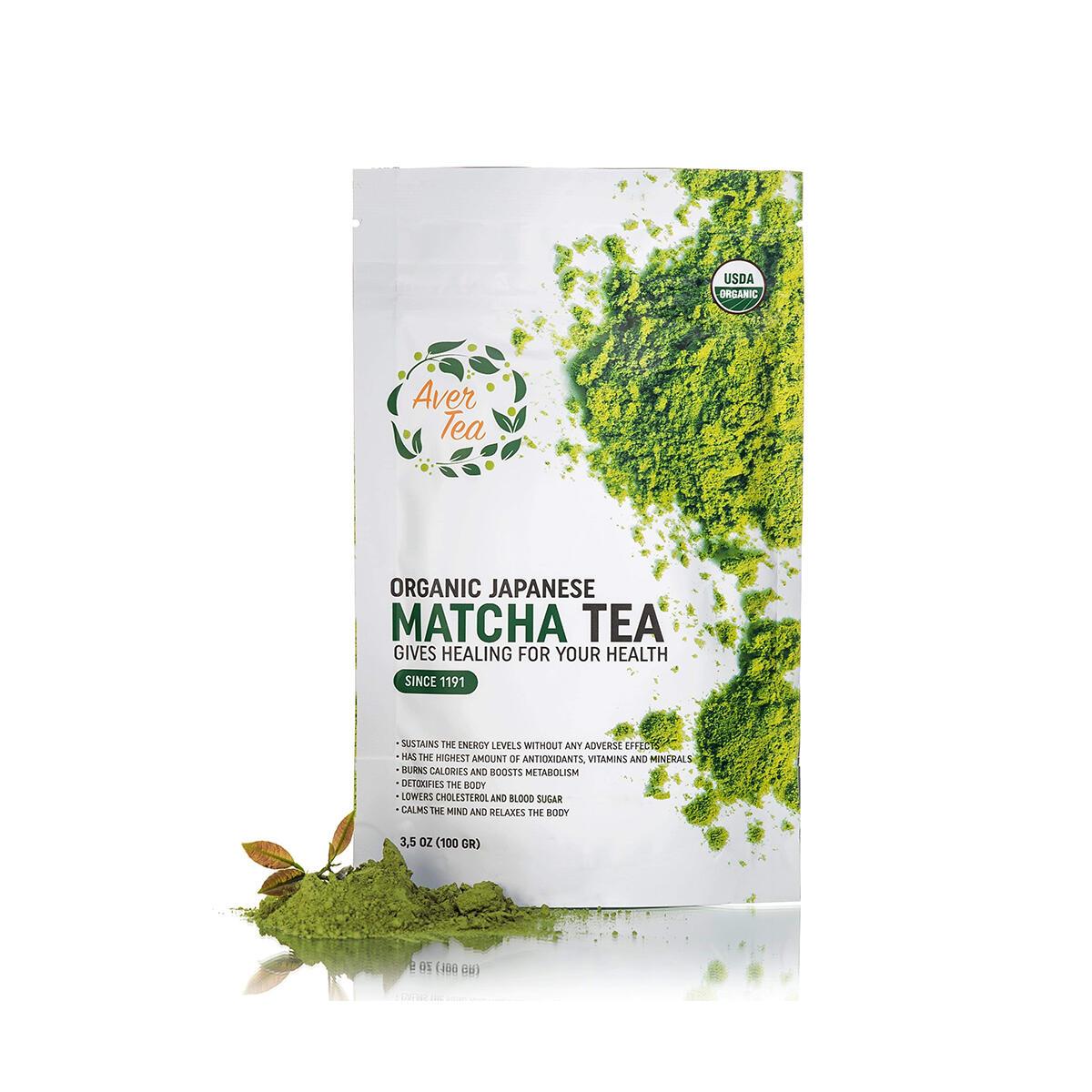Organic Matcha Green Tea Powder - Classic Japanese Natural Tea Grade - USDA & Vegan Certified Made From 100 Percent Organic Tea Leaves - Antioxidants, Energy, Detox, Smoothies - 3,5 oz by Aver Tea