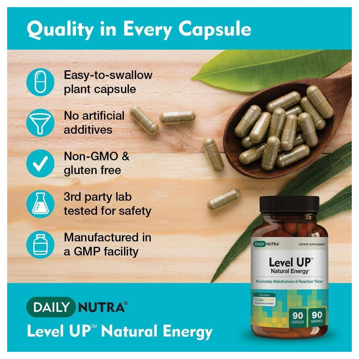 Level UP Natural Energy by DailyNutra - Focus Supplement - Promotes Cognitive Performance & Reaction Time | Energy Pill with Green Tea Extract, TeaCrine, and KSM-66 Ashwagandha (90 Capsules)