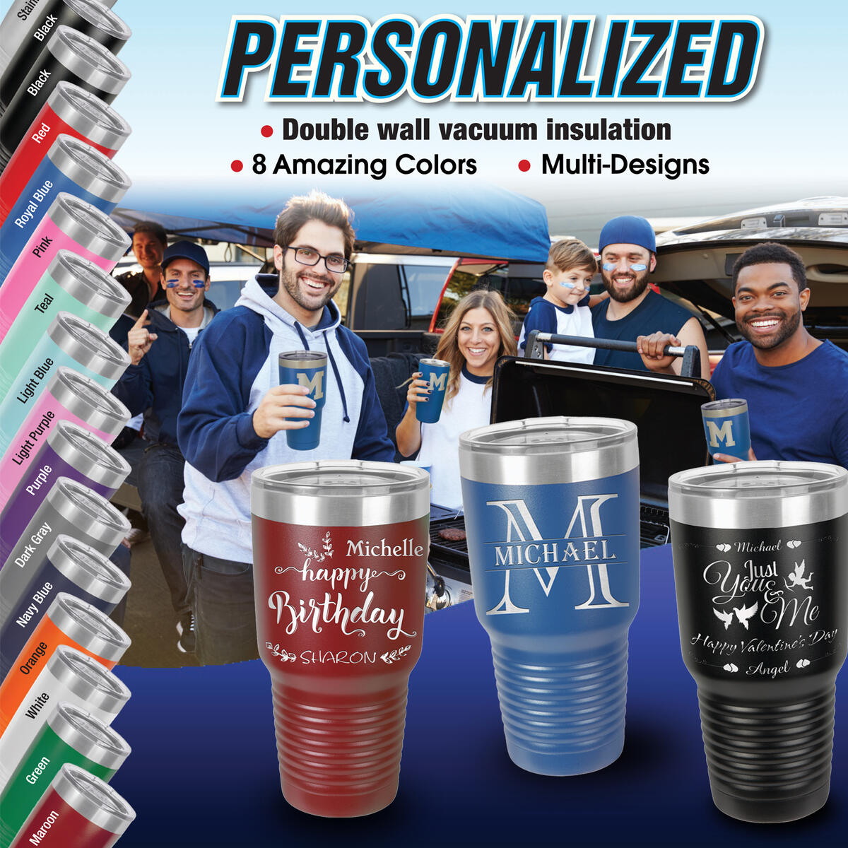 Personalized Tumblers 30oz, 20oz with Lids and Straws, Your Name or Text Engraved in USA, Vacuum Insulated Travel Coffee Mugs, Stainless Steel Double Wall Thermos, Customized Cups (18 Designs, 9 Colors)