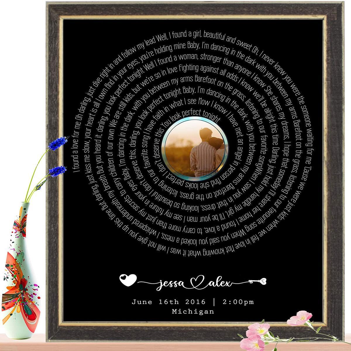 Custom Song Lyrics Wall Art Decor Print - Wedding Song Lyrics, First Dance Song Poster, Personalized Anniversary Gift (Multiple Sizes , Unframed / Framed)
