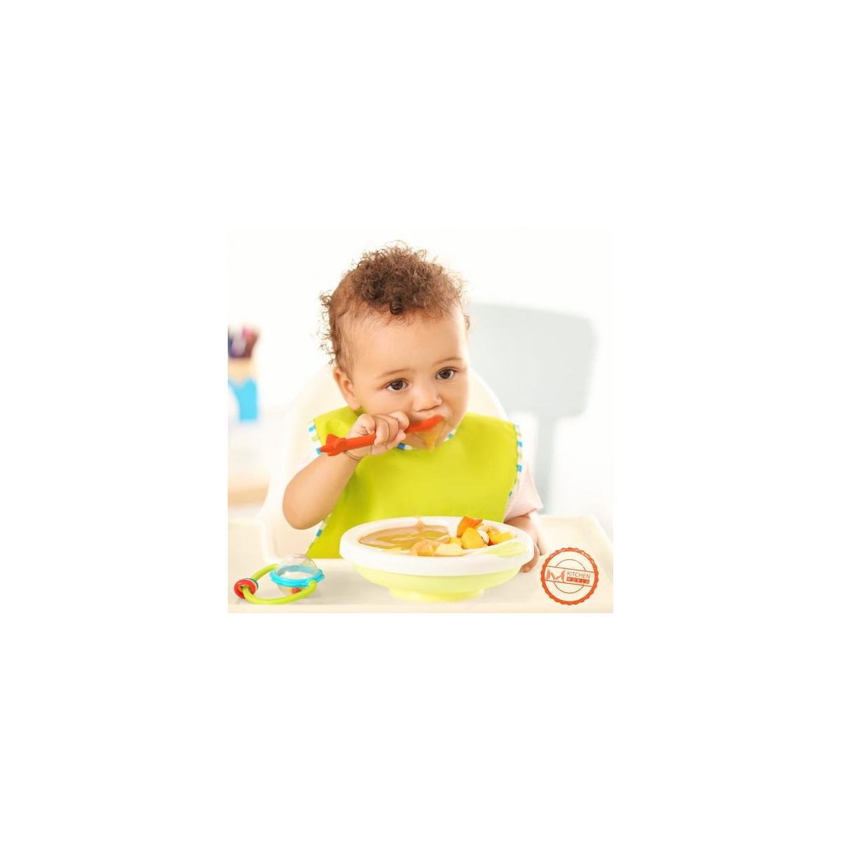 M KITCHEN WORLD Silicone Baby Spoons Self Feeding Infant Training Spoon   First Stage Soft Tip Starter Teether for Baby   Led Weaning Gum-Friendly BPA Free 2 Pack Perfect Baby Shower Gift