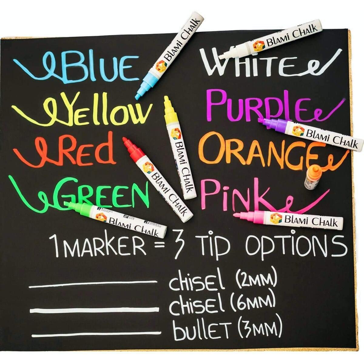 Blami Arts Chalk Markers 8 Pens Set - Neon Vibrant Chalkboard Markers - Non-Toxic Water-Based Liquid Chalk Markers with Reversible Tips and Erasing Sponge Included