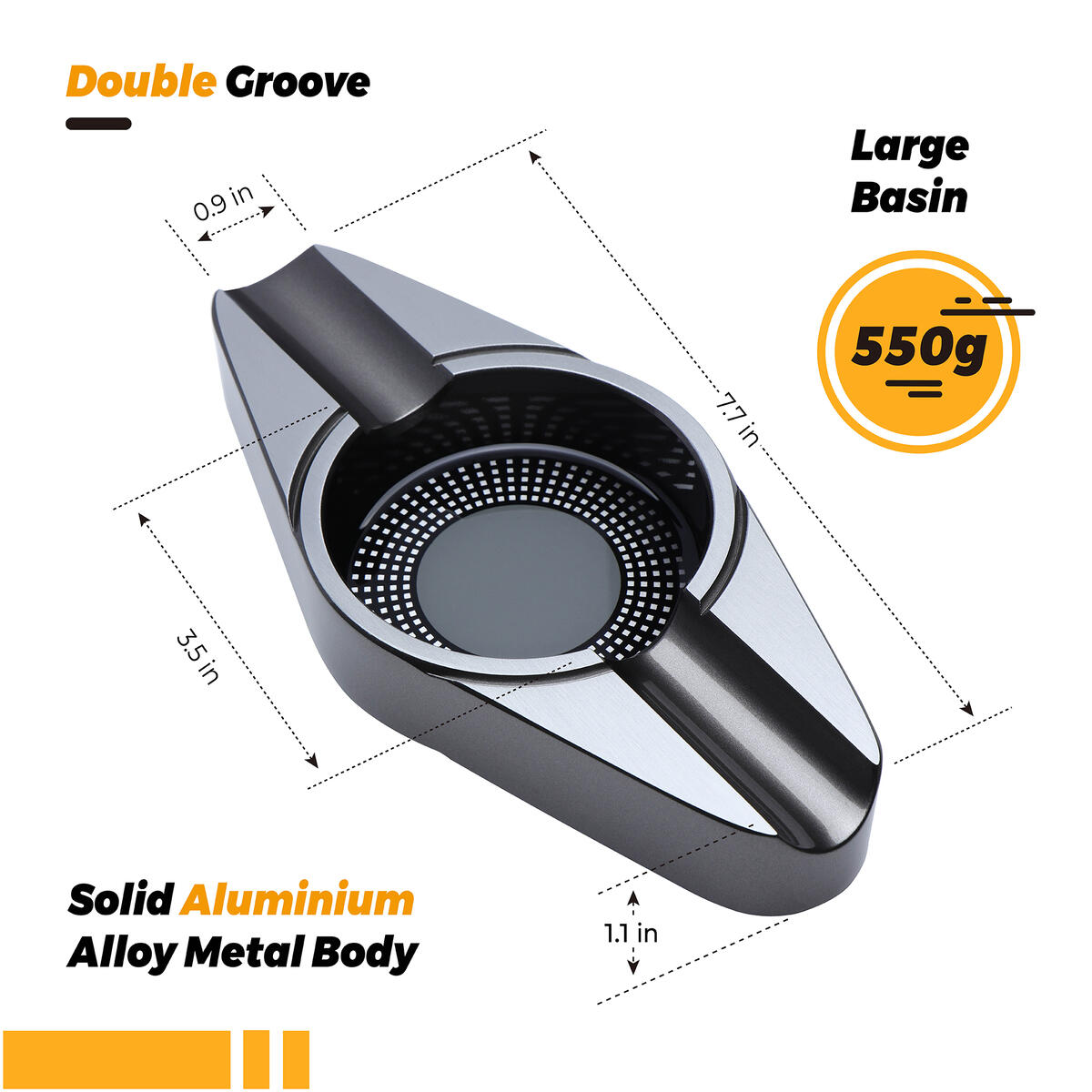 VEXO Cigar Ashtray Metal Ash Tray with Double 2 Cigar Holders and Large Basin for Outdoor Patio Indoor Home and Office Use, Cool Cigar Gift Idea