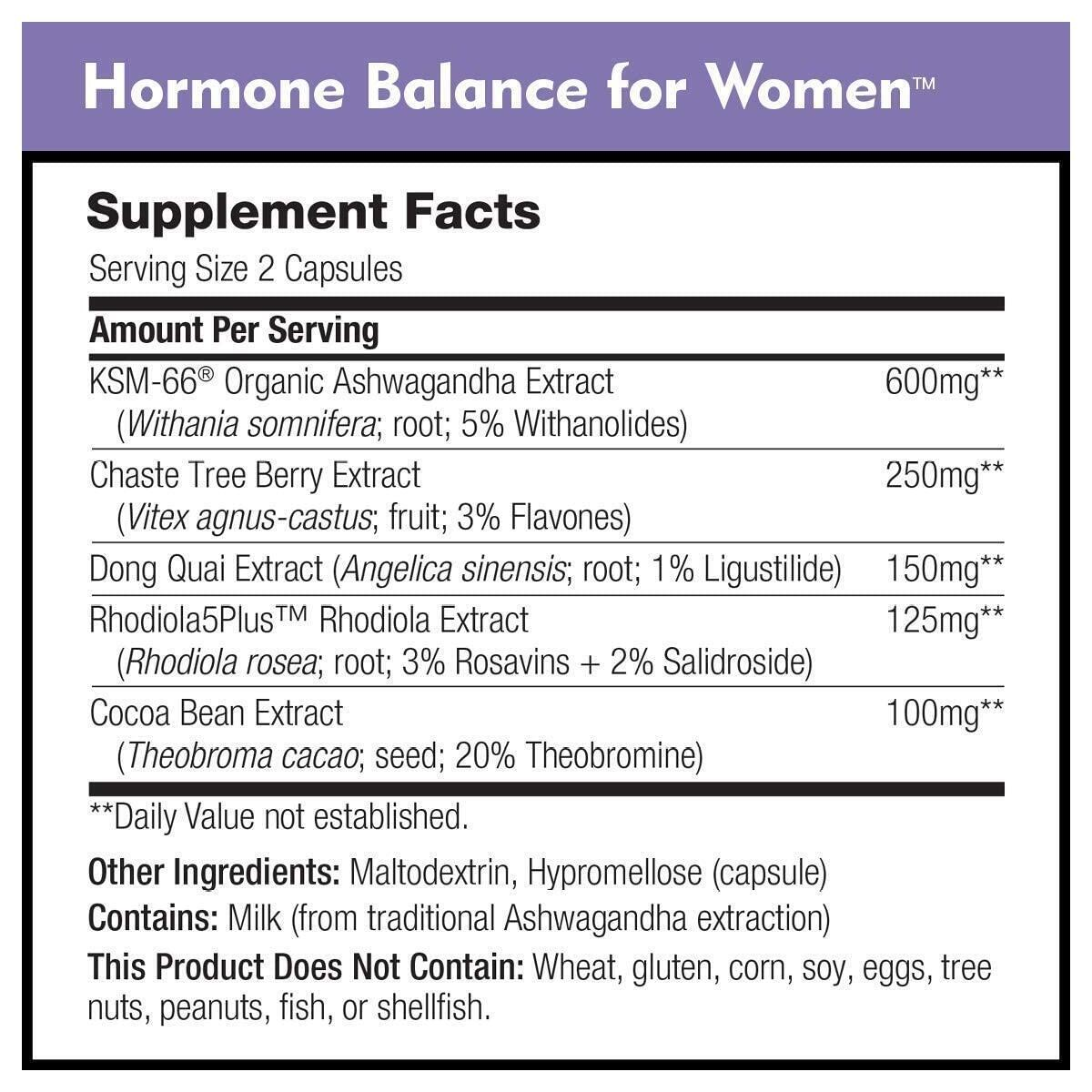 Hormone Balance for Women by DailyNutra - Menopause Support and PMS Relief | Natural Mood Supplement | Featuring Clinically Studied KSM-66 Ashwagandha (90 Capsules)