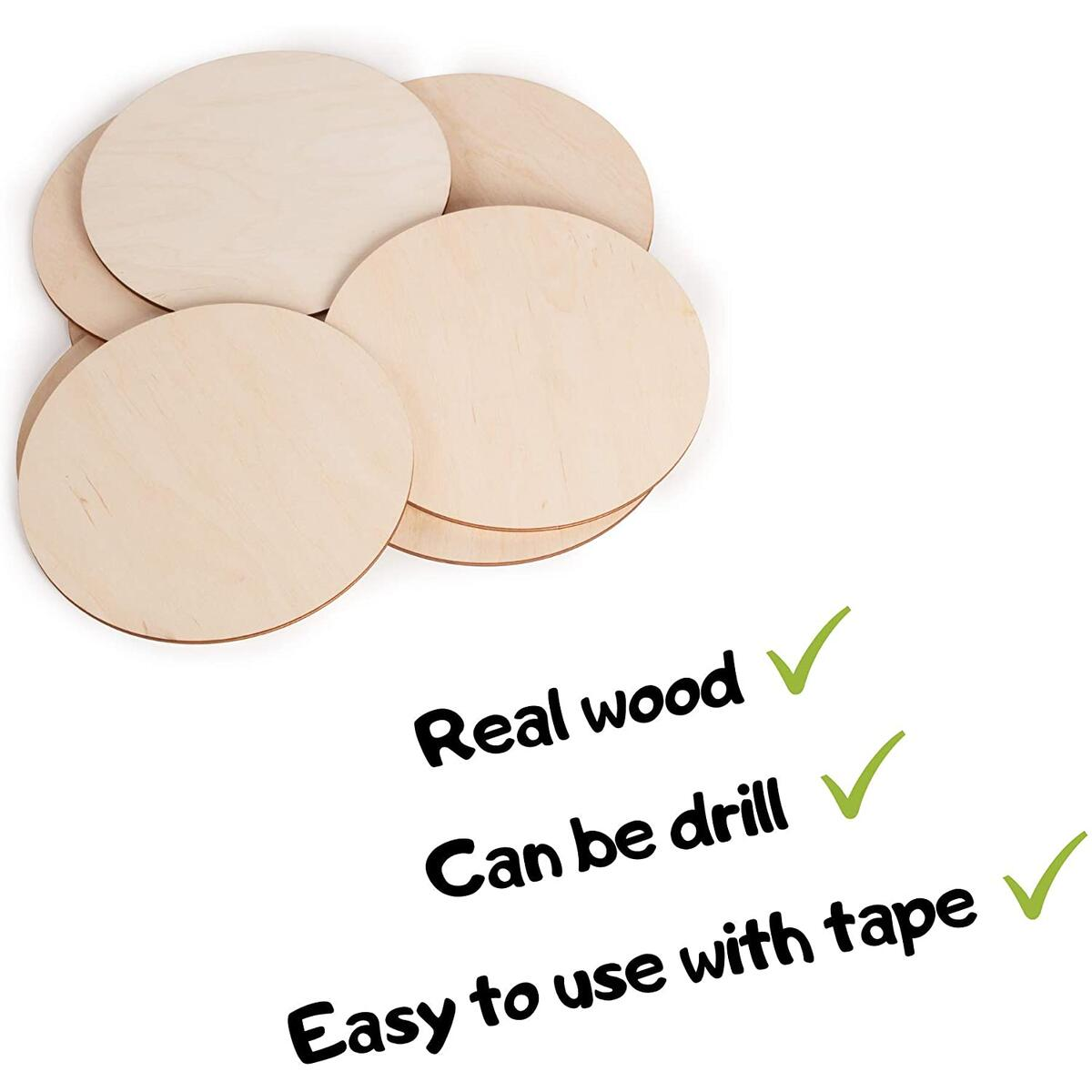 uVeans 4 Inch 10 Pack Wooden Circles - Unfinished Round Natural Wood - Unpainted Wood Slices - Cutout Wooden Discs - Plywood Circle for Art and Craft, Painting, DIY …