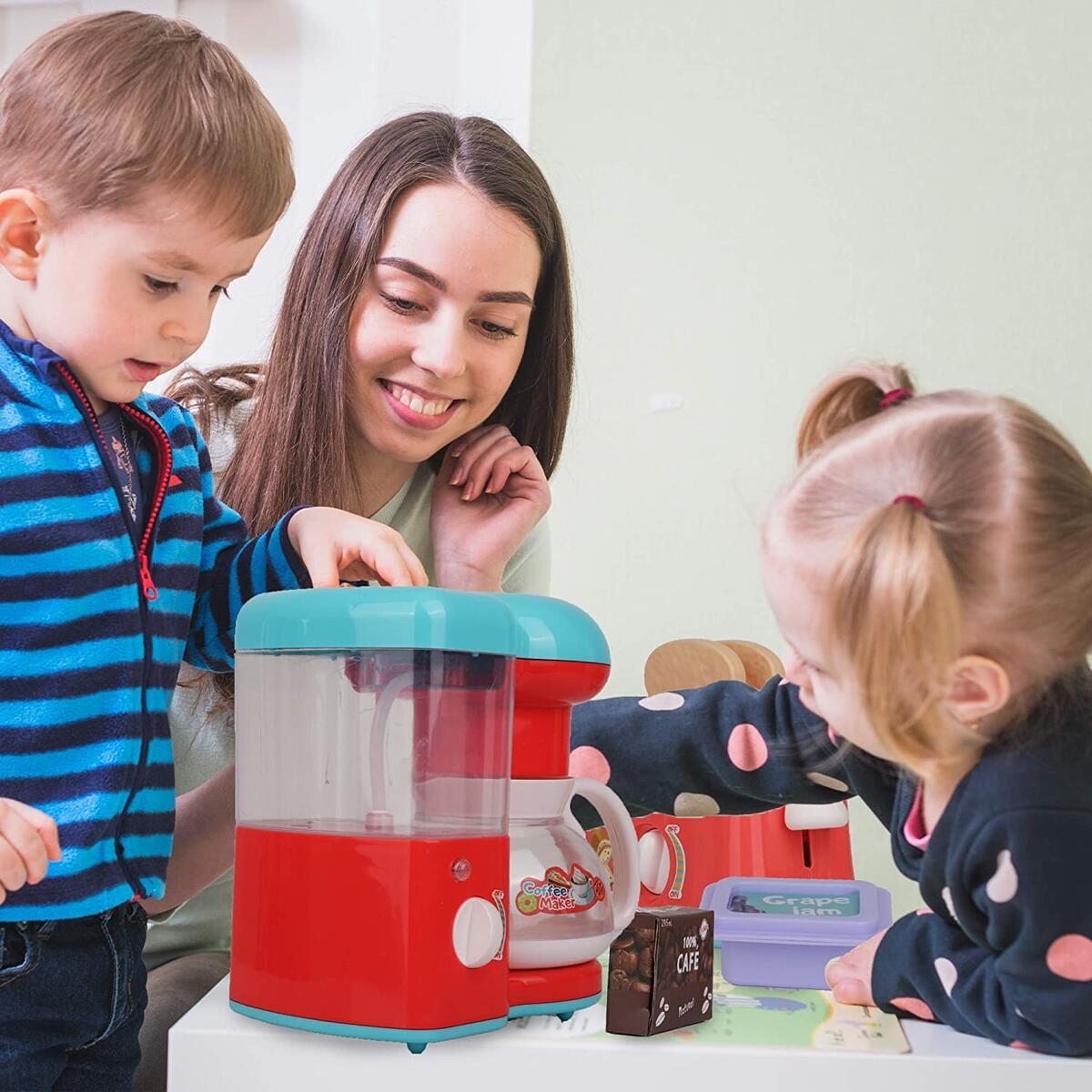 Playkidz Breakfast Set with Coffee Maker and Toaster Play - Kitchen Set with Lights and Sounds and Pretend Play Fake Food - Educational Toy - Recommended for Ages 3+