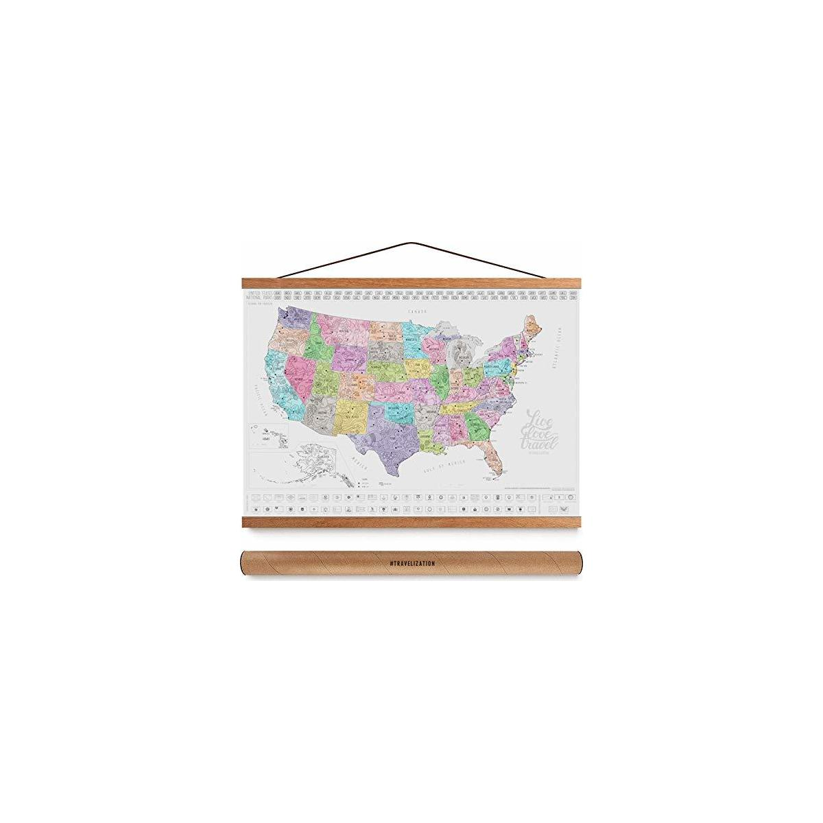 """37"""" Wide Magnetic Poster Hanger Frame - Wall Hanging Wooden Frame for Posters, Prints, Photos, and Artwork - Extra Strong Magnets & Full Hanging Kit - Frame for Scratch Off Map 24x36"""
