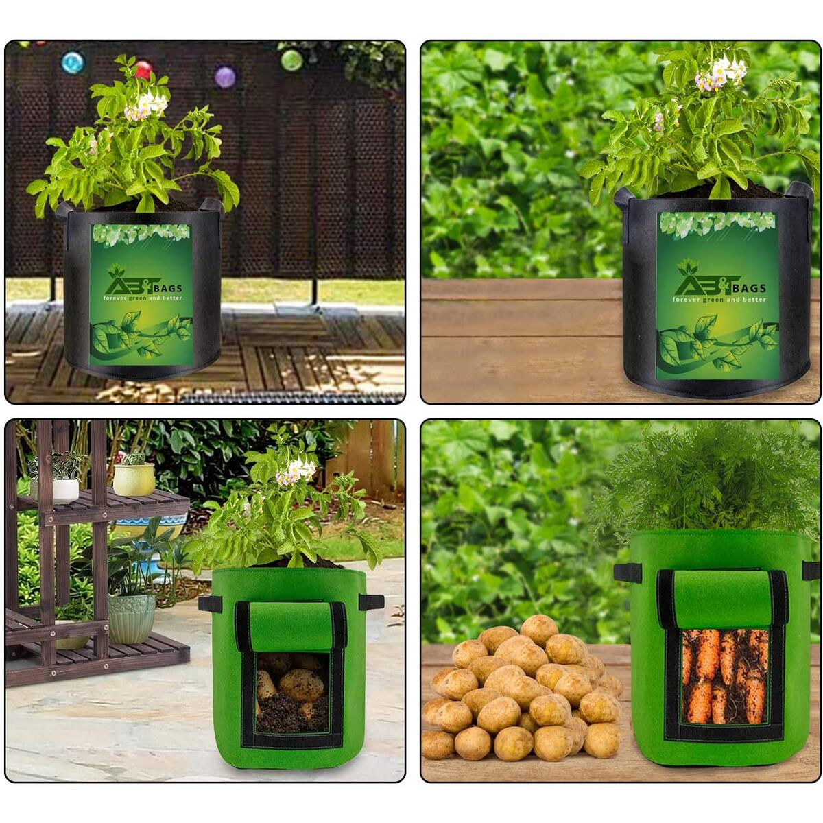 AB&T Grow Bags Potato Grow Bags 7 Gallon 8 Pack with Flap Handles Thickened Nonwoven Fabric Pots Tomato Planter Bags Plant 8 Watering Spikes Garden Container Vegetables Planter Pots Plant Waterer