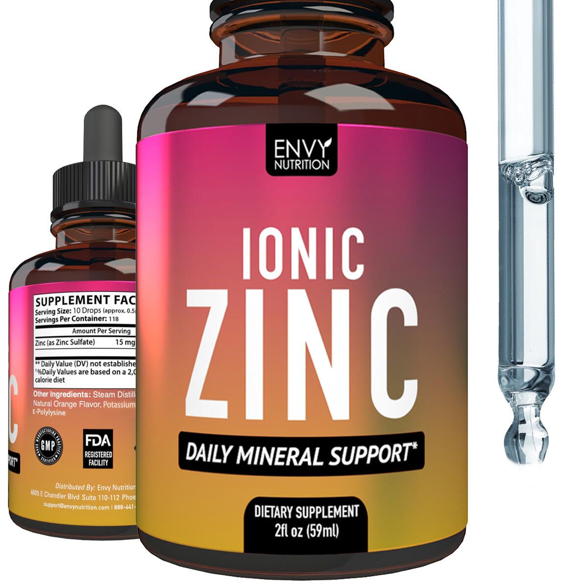 Ionic Zinc Liquid Supplement - Daily Mineral Support - Immunity Supplement - Boost Metabolism and Mood - 50 Servings