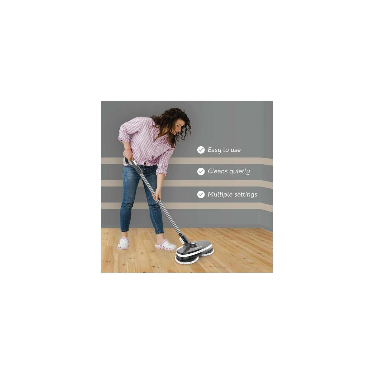 Gladwell Cordless Electric Mop - 3 in 1 Spinner, Scrubber, Waxer Quiet, Powerful Cleaner Spin Scrubber & Buffer, Polisher for Hard Wood, Tile, Vinyl, Marble, Laminate Floor - 1 Year Warranty - black