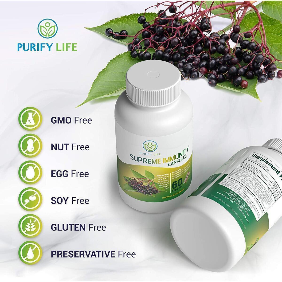 Immune System Support & Probiotic Capsules - Elderberry with Echinacea, Zinc, Goldenseal, Astralagus and Digestion Booster - Vegan Cold and Allergy Relief Supplement - Replace Gummies, Syrup, Tablets