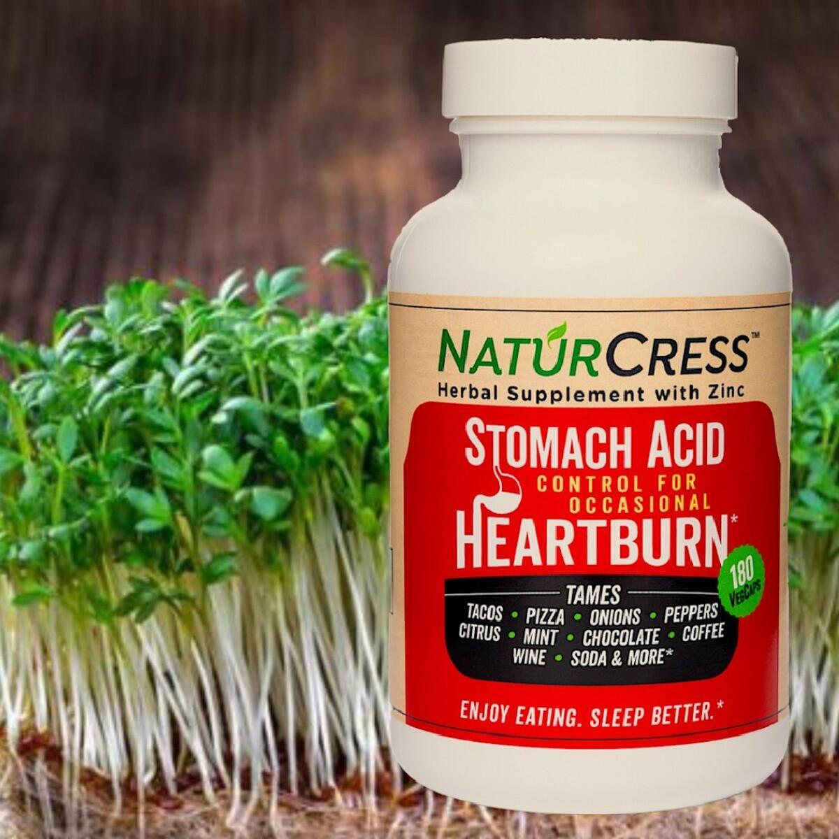 NaturCress Herbal Heartburn Relief | Works 2-Ways | Fast Natural Control | Tame Food Triggers | Highly Rated | 180 VegCaps