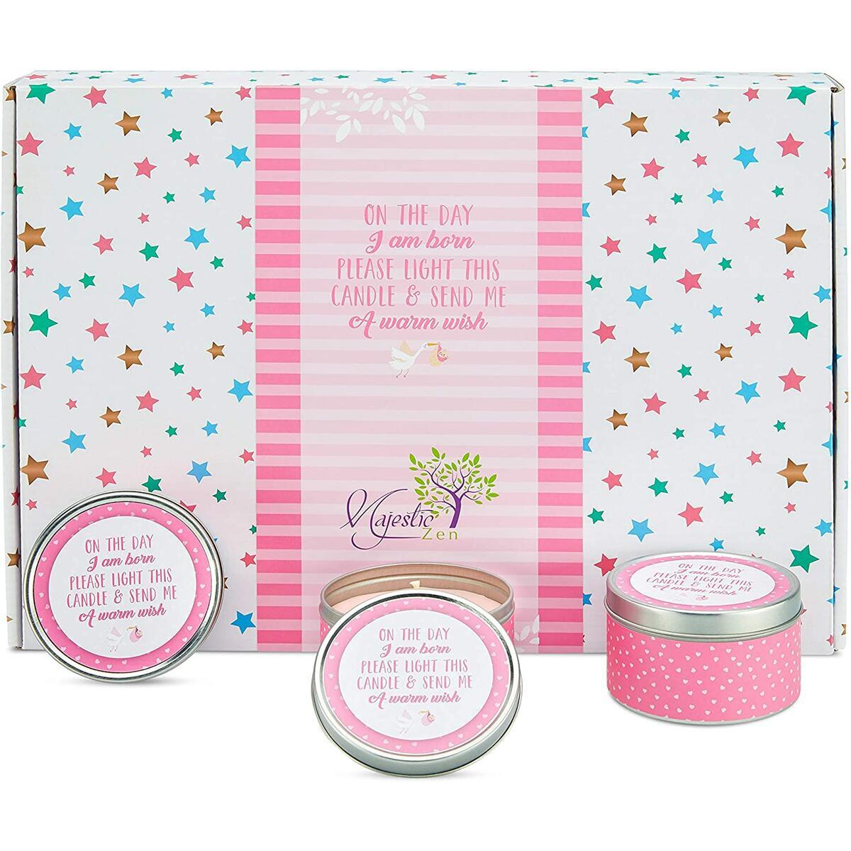 Baby Shower Party Favors Candles- for Boys, Girls and Gender Neutral-Unisex. Set of 12 Elegant Pink Colored- Send A Wish Baby Shower Party Favors for Guests- Great Options for Gender Reveal Parties