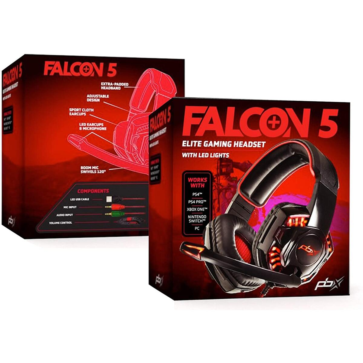 Falcon 5 Elite Gaming Headset, Red LED-Lights, Boom Mic, Noise-Reducing Tech, Sport Cloth Earcups, Padded Headband for Computer & Gaming Consoles