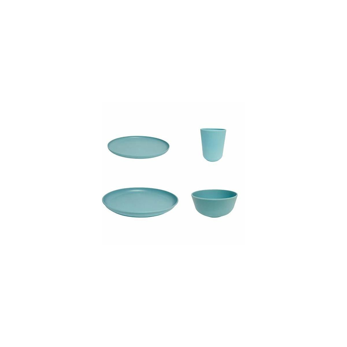 Set for1person (4PCS)/BAMBOO fiber dinnerware set for Adults&Kids dishwasher safe,reusable dinnerware,picnic tableware,Cup,Plate,Plate,Salad Plate,Soup Bowl,Cup,wedding gift,Picnic Party,BBQ set(Blue)