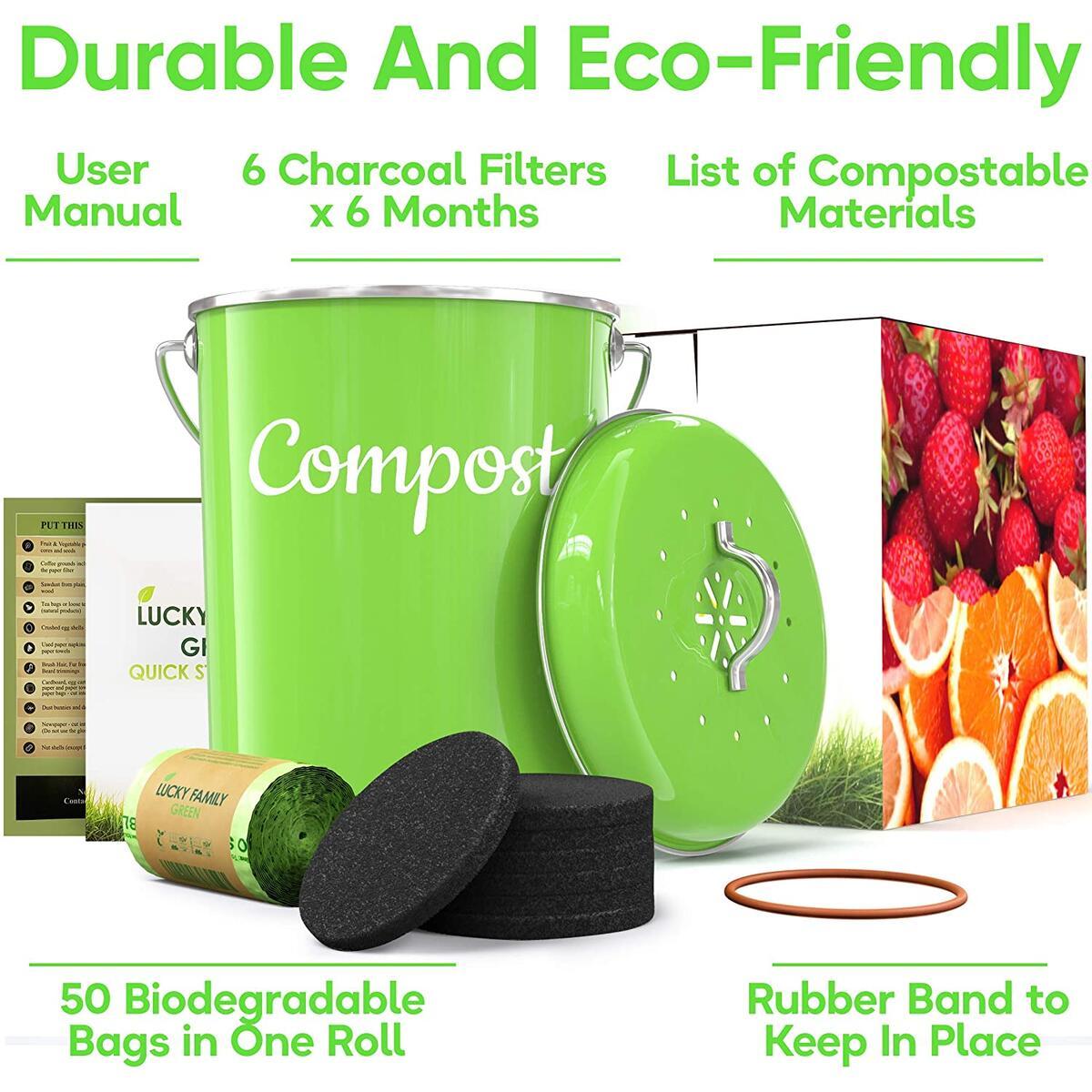 Lucky Family Green Compost Bin 1.3 Gallons Set