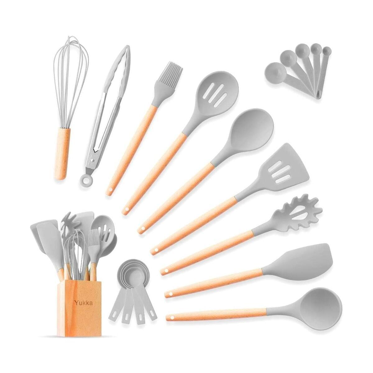 Silicone Kitchen Utensils Cooking Set 20pcs color grey