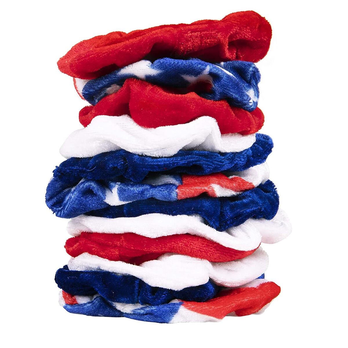 Patriotic Scrunchie Assortment (12-Pack), Hair Ties for Women