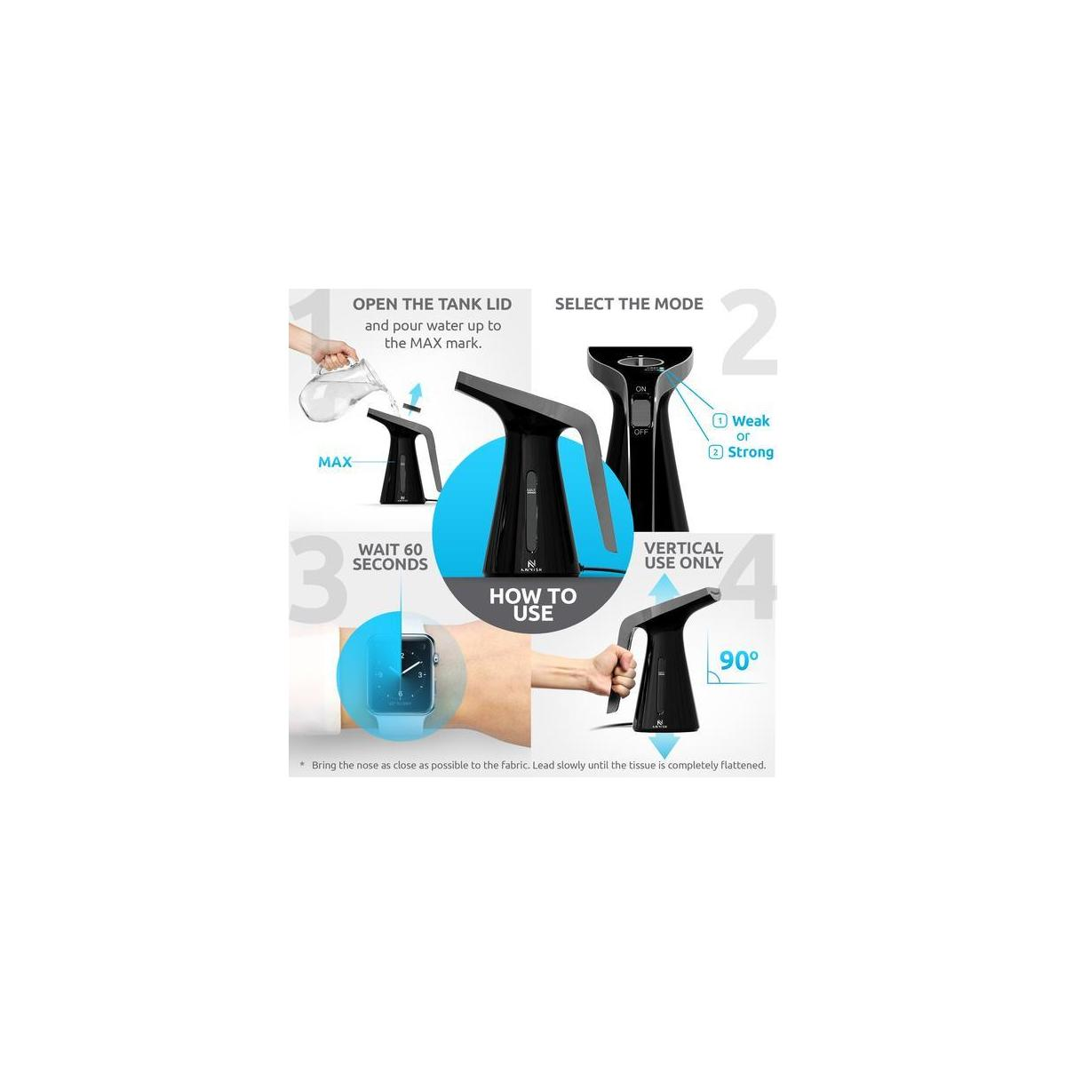 Steamer for Clothes with High Capacity for Home and Travel