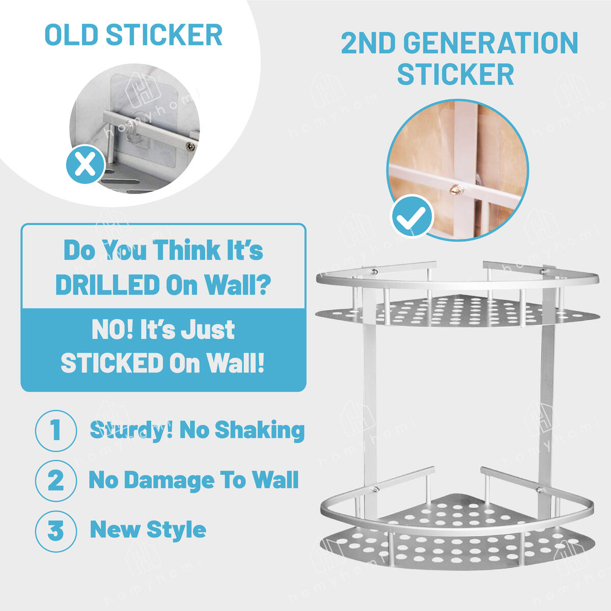 No Drilling Multi-Use Corner Shower Caddy, Strong Adhesive Shampoo Holder, Kitchen Shelves