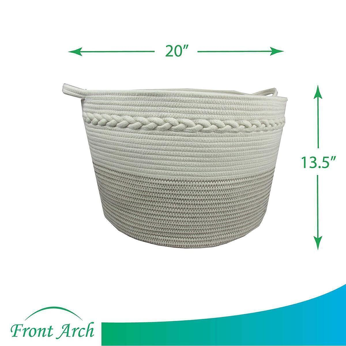"Rope Basket|Woven Basket|Storage Basket|Decorative Hampers for Laundry| Large Cotton Rope Storage Baskets Great as Laundry Basket, Laundry Hamper, Toy Storage, Toy Bin,Blanket Basket,XXL20""X13.5"""