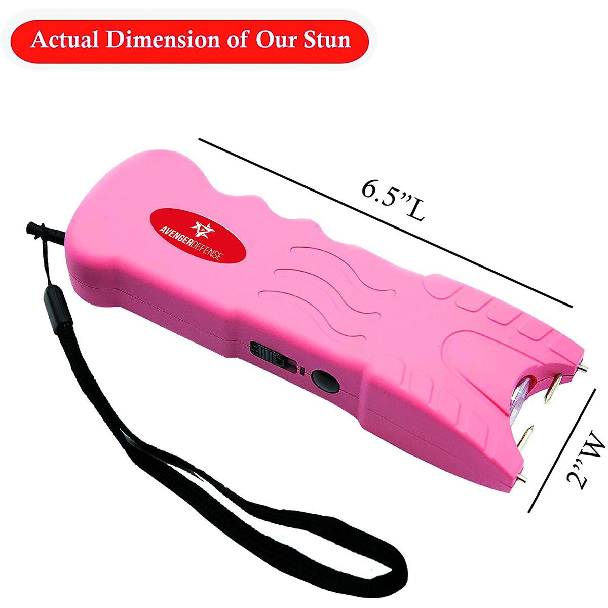 Avenger Defense ADS-80P – Stun Gun for Women – Taser Gun with Safety Disable Pin – 1.2µC Charge for Powerful Self Defense –Bright LED 120 Lumen Rechargeable Flashlight & Holster -Pin Required,Pink