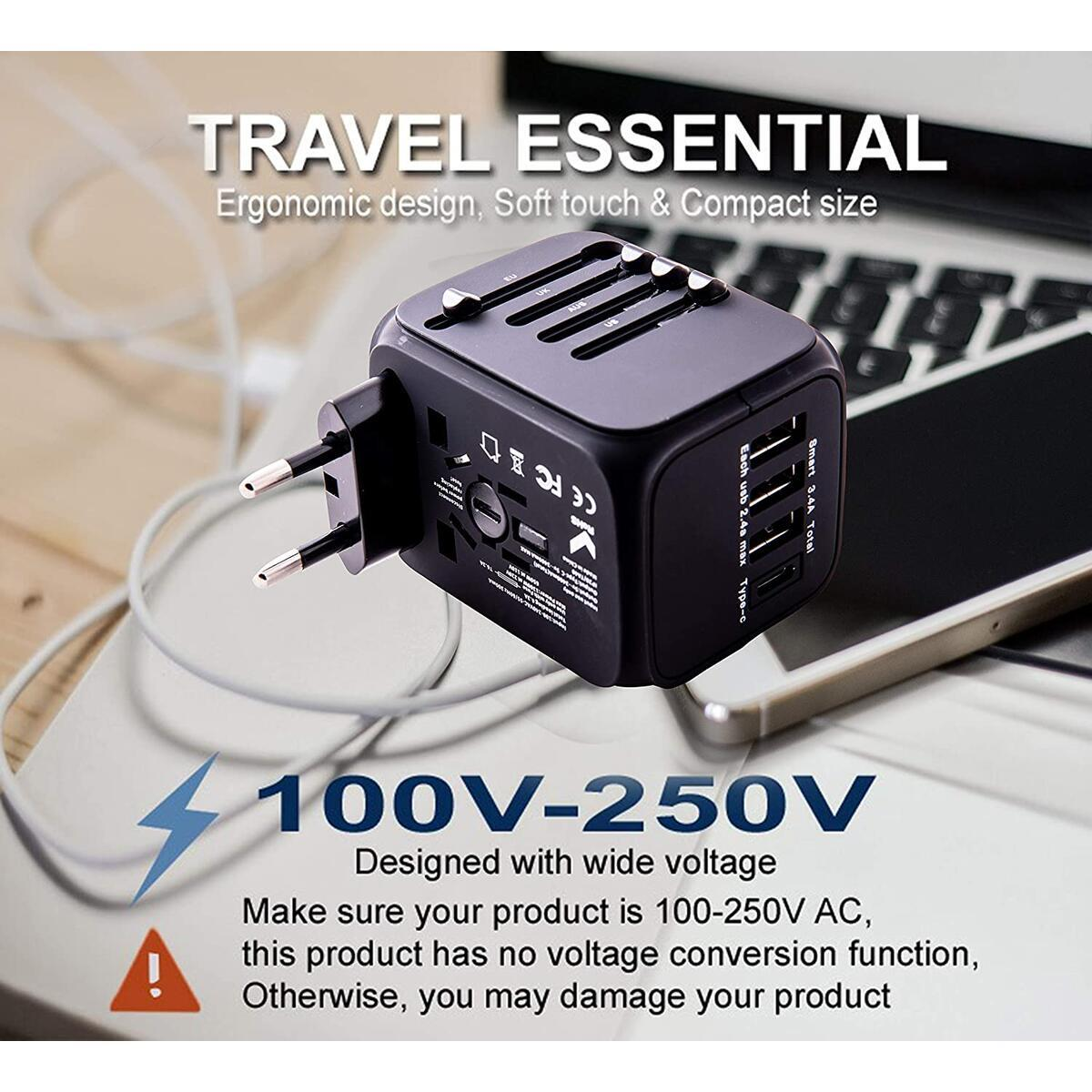 Universal Travel Adapter with 3 USB ports and 1 Type-C