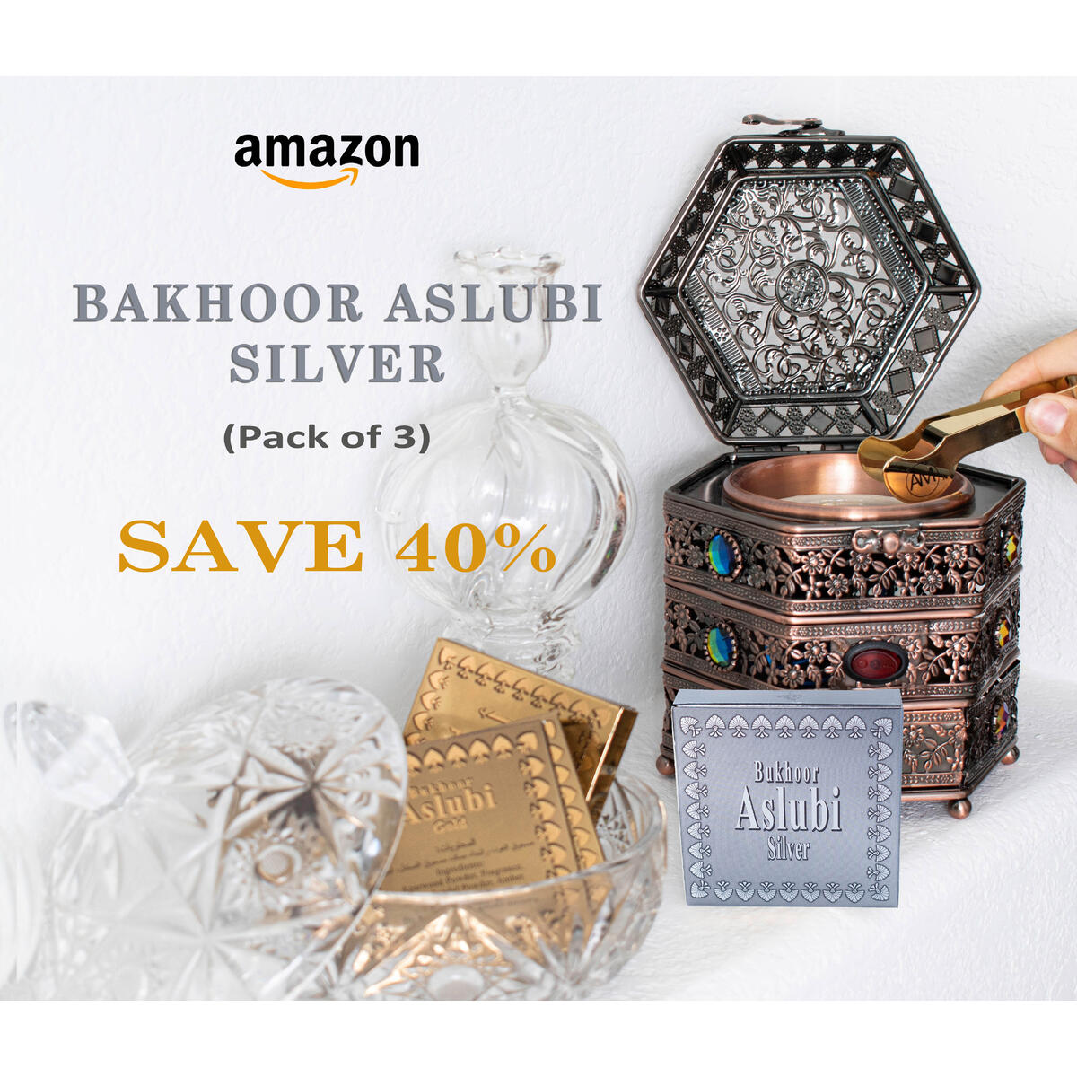 Otoori Aslubi Bakhoor Incense Silver - Arabian Bukhoor Use on Charcoal Incense Burner or Electric Insence Burner (3 Pack)